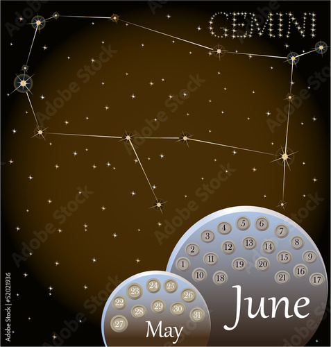 Calendar of the zodiac sign Gemini.
