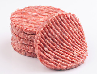 stacked raw hamburger steaks