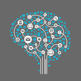 Abstract human brain and social media, icons vector