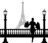 Woman in shopping in Paris in front of Eiffel tower silhouette