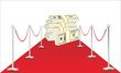 dollars on a red carpet isolated on white background