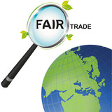 Magnifying glass Fair Trade looking at the world