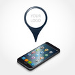 smartphone, logo, géolocalisation