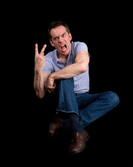 Angry Shouting Man Giving Two Finger Gesture