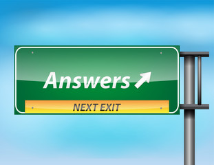 Glossy highway sign with 'Answers' text
