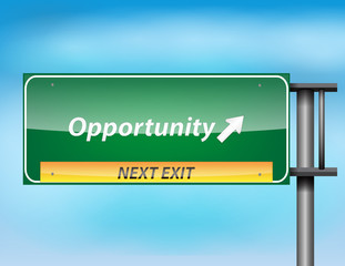 Glossy highway sign with Opportunity