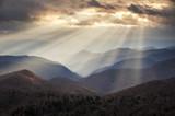 Appalachian Mountains Light Rays on Blue Ridge Parkway Ridges