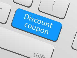 Save money concept: discount coupon key keyboard