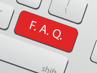 FAQ or frequently asked questions concept with computer key