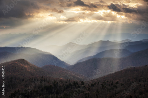 Appalachian Mountains Light Rays on Blue Ridge Parkway Ridges