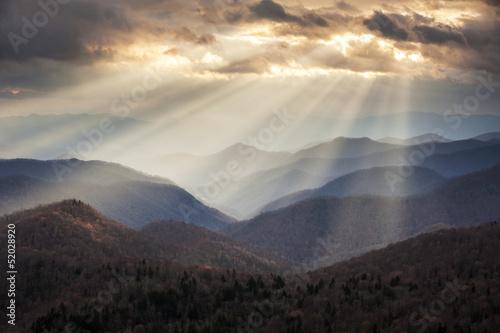 Appalachian Mountains Light Rays on Blue Ridge Parkway Ridges - 52028920
