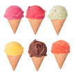 Ice creams collection, isolated on white background