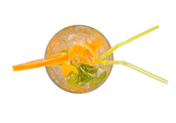 Fresh summer cocktail from upper view, isolated on white