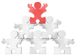 Business Pyramid.Puzzle people x 6 in Pyramid Formation. Red.