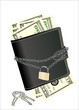 wallet with padlock and keys - symbolic for safety precautions