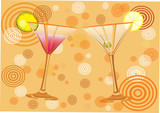 orange background with alcohol cocktail .