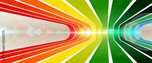 Background with stripes in perspective with optical flares
