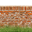 Red brick wall with green grass isolated on white
