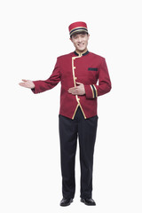 Portrait of Bellhop, Greeting, studio shot