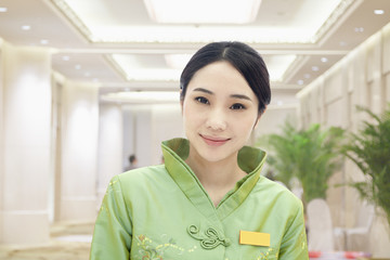 Restaurant/Hotel Hostess in Traditional Chinese Clothing