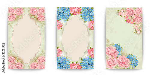 Set: vintage labels with flowers. Raster version