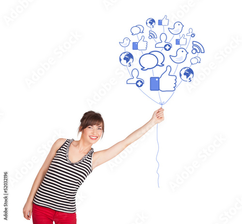 Happy lady holding social icon balloon