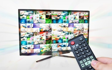 TV with multiple images gallery. Streaming glow effect. Hand hol