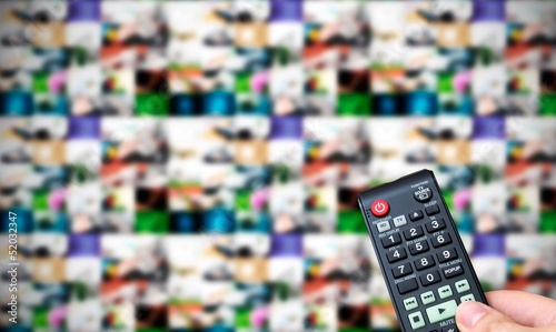 Remote control. Multiple images gallery panel in background