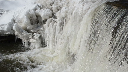 frozen winter river waterfall water closeup murmur sound