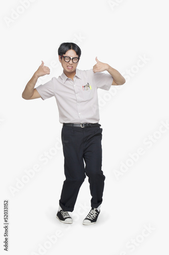 Nerdy Guy Giving Thumbs Up