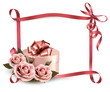 Holiday background with three roses and gift box and ribbon. Vec