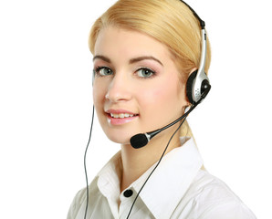 Close-up of young customer service girl with a headset