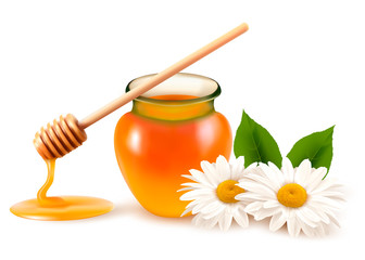 Jar of honey and a dipstick with flower. Vector.