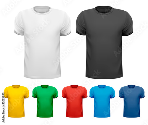 Black and white and color men t-shirts. Design template. Vector