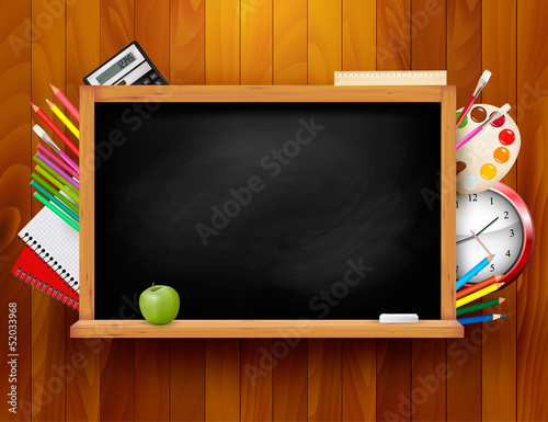 Blackboard with school supplies on wooden background. Vector