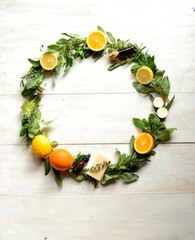 Fruits,herbs and aromatherapy.wreath
