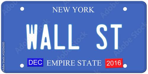 Wall Street New York License Plate