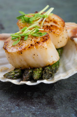Sauteed scallops on the shell with asparagus