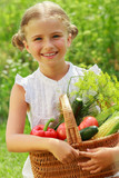 Gardening, vegetables - lovely girl with basket of vegetables