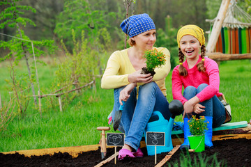 Gardening, planting - girl helping mother in the garden