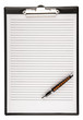 blank clipboard with a pen isolat