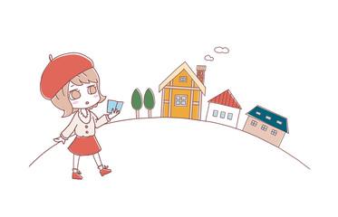 ベレー帽の女の子と家
