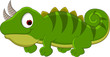 cute green chameleon cartoon