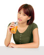 Young asian woman with a glass of orange juice