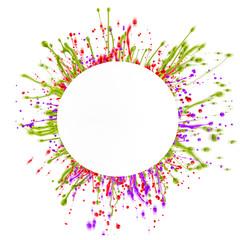 Colored paint splashing over white background