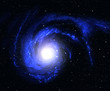 Beautiful blue spiral galaxy in deep space.