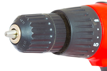 closeup red electric drill on a white background