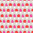 Seamless Pattern Fly Agarics Red/Pink Beige