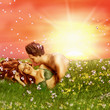 Loving fairy couple in grass, spring