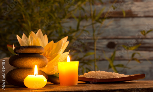 Spa still life with aromatic candles - 52041136